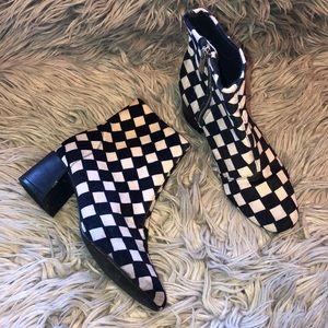 UO checkered block heel booties 7